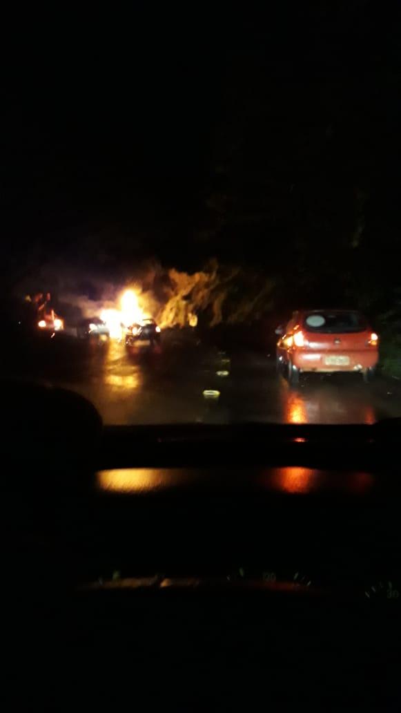 Carro é destruído pelo fogo ao sair da pista e colidir em barranco na SC 386