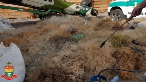 Polícia Militar Ambiental destrói mais de três mil metros de redes de pesca apreendidas