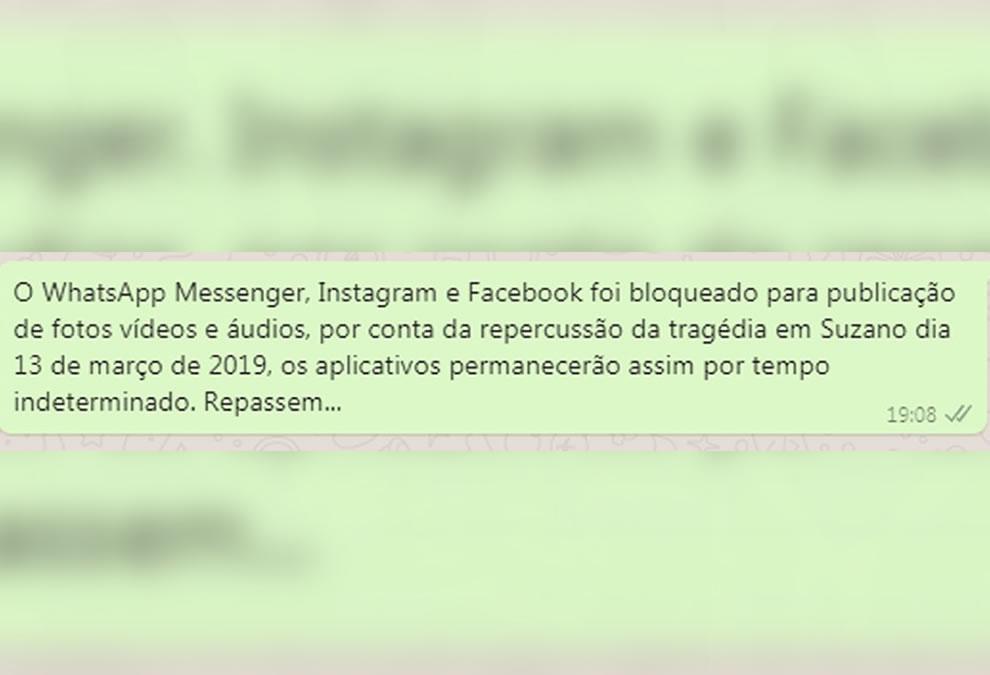É FAKE que redes sociais foram bloqueadas em razão de ataque em SP