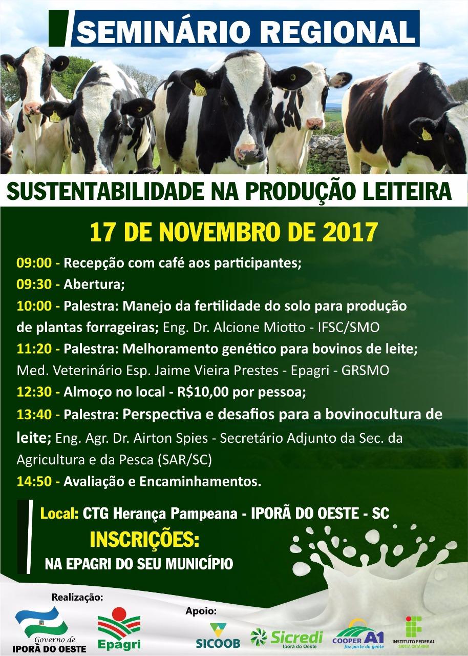 Iporã do Oeste sedia seminário sobre sustentabilidade na produção leiteira