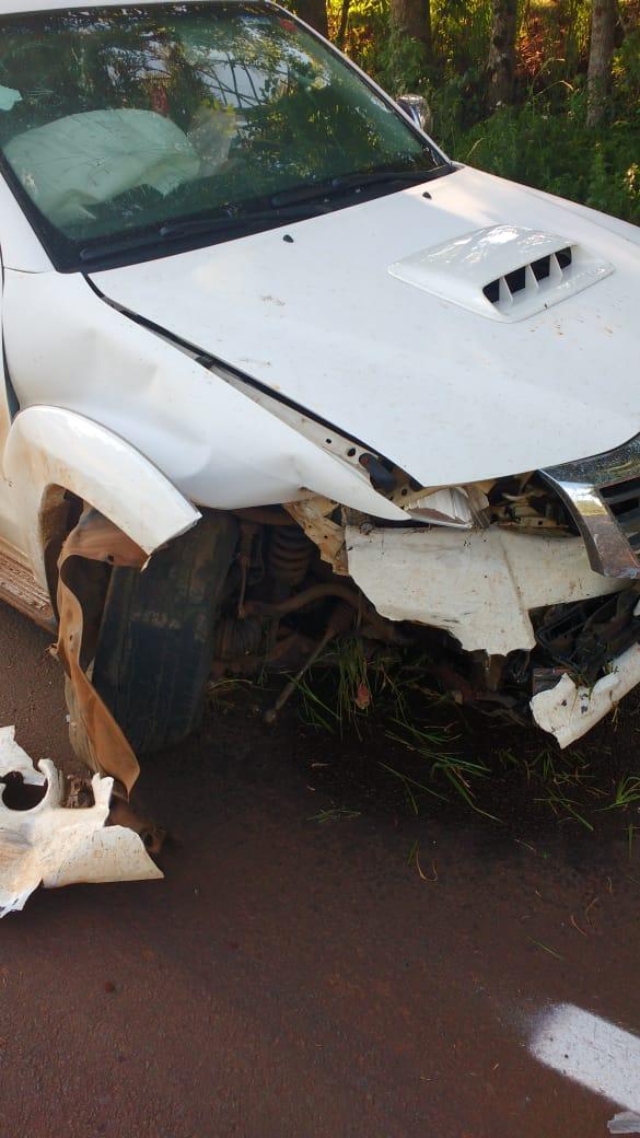Colisão lateral deixa uma pessoa ferida na SC-161