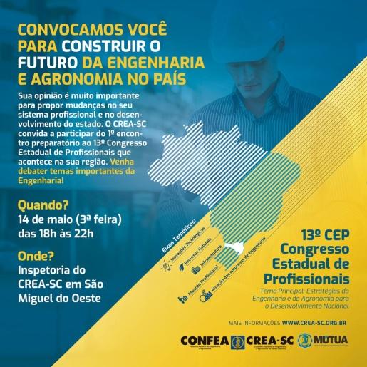 São Miguel do Oeste sedia Congresso Estadual dos Profissionais do CREA na próxima semana