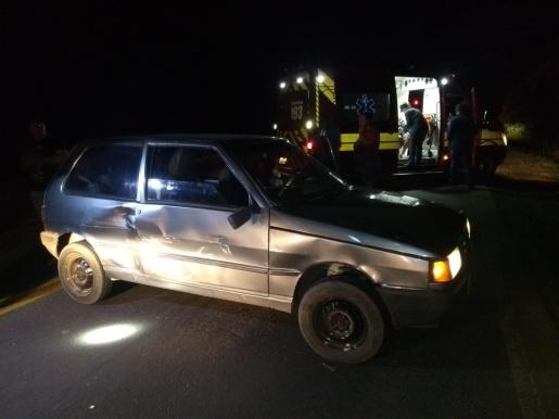 Acidente entre caminhão e carro deixa uma pessoa ferida na BR-163