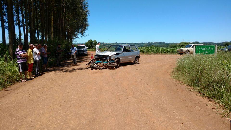 Motociclista fica ferido em colisão no interior de Tunápolis
