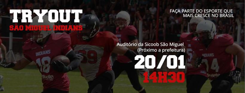 Equipe São Miguel Indians de futebol americano realiza seletiva neste sábado