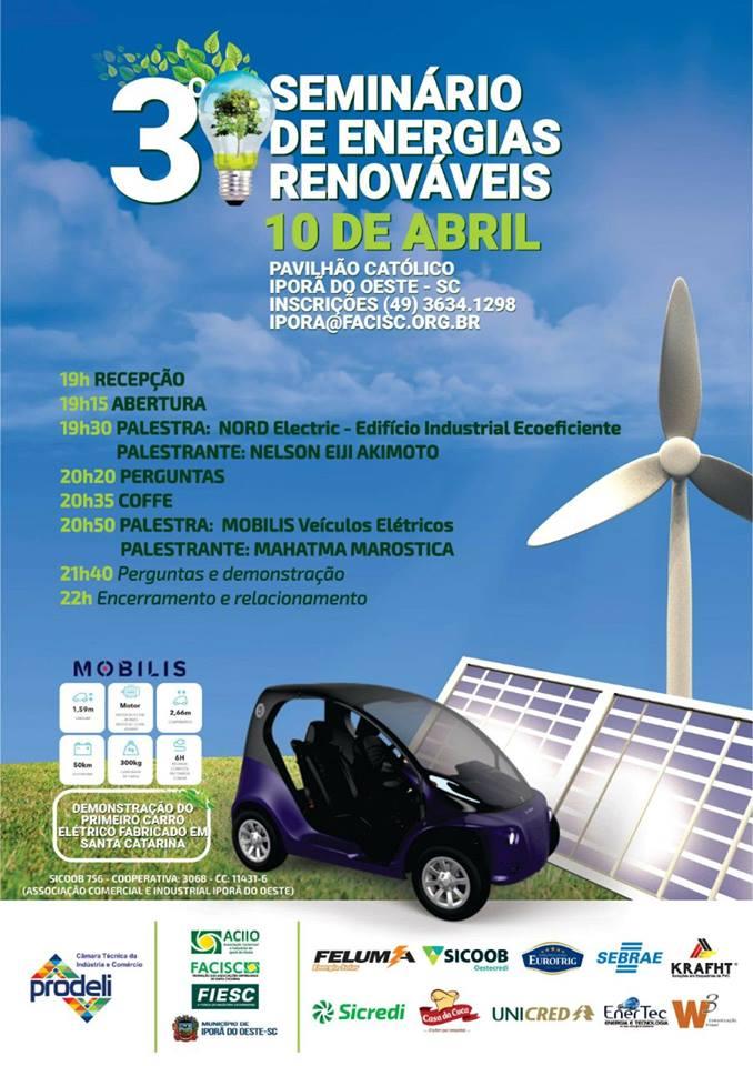 3º Seminário de Energias Renováveis será realizado nesta terça-feira em Iporã do Oeste