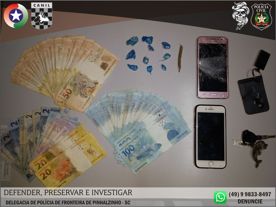 Operação conjunta das Polícias de Pinhalzinho e Saudades prende três traficantes de drogas