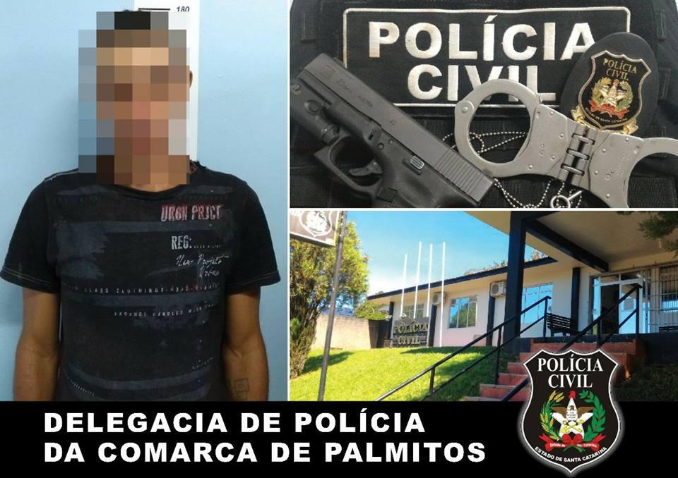 Polícia Civil de Palmitos cumpre mandado de prisão de foragido da Penitenciária de Chapecó