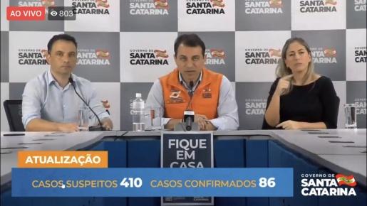 VÍDEO: Governo de SC confirma prorrogação de decreto para mais 7 dias