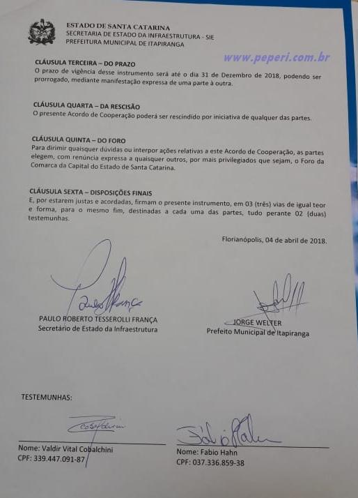 Prefeito de Itapiranga anuncia manutenção na SC 283
