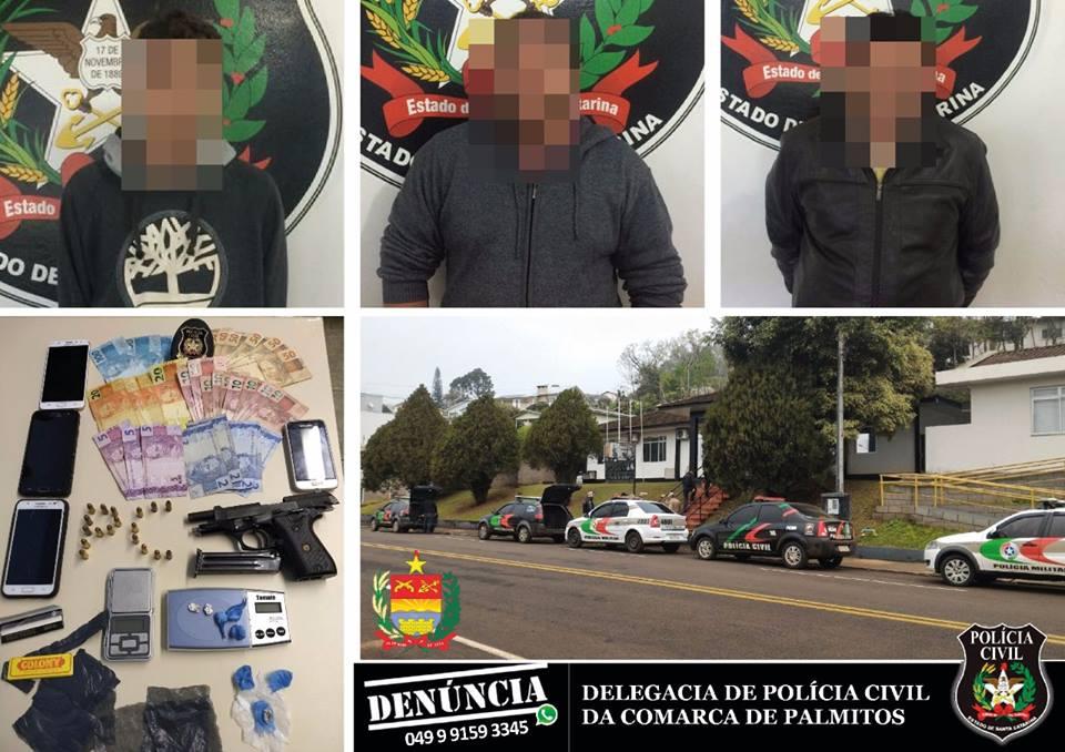 Três pessoas são presas em Caibi por tráfico de drogas e posse de arma de fogo