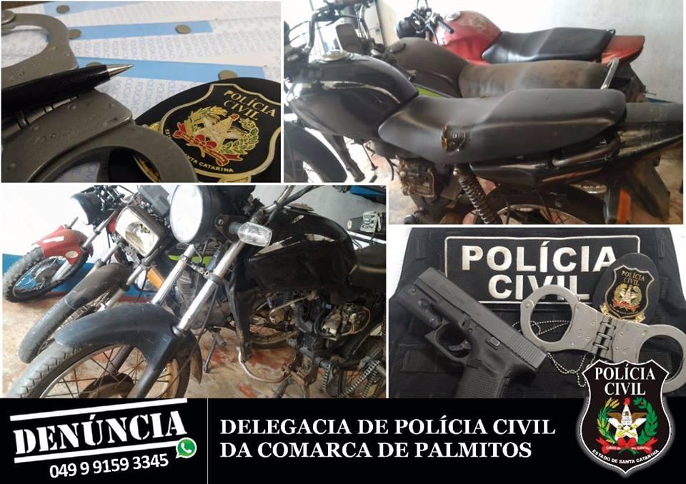 Polícia Civil de Palmitos apreende três motocicletas com sinais de adulteração