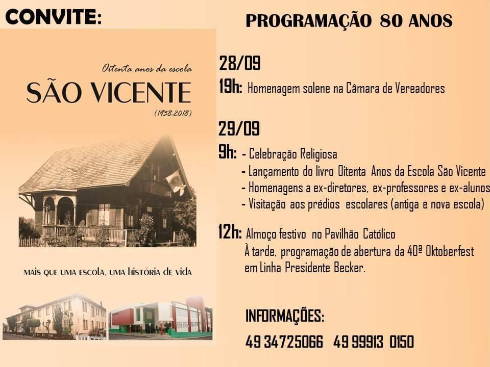 Eventos marcam 80 anos da Escola São Vicente