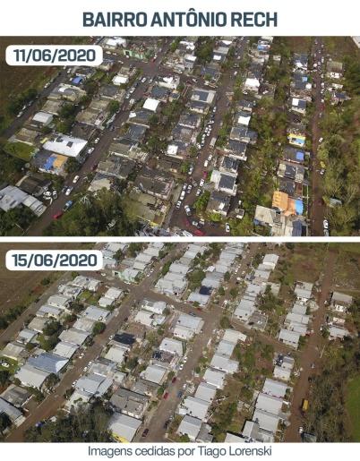 Imagens aéreas mostram reconstrução pós-tornado em bairro de Descanso