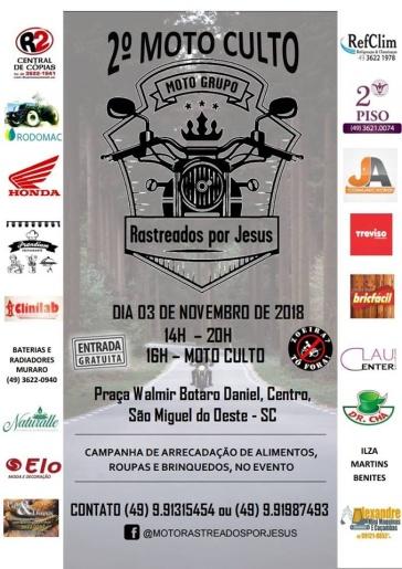 Segundo Moto Culto será neste sábado em São Miguel do Oeste