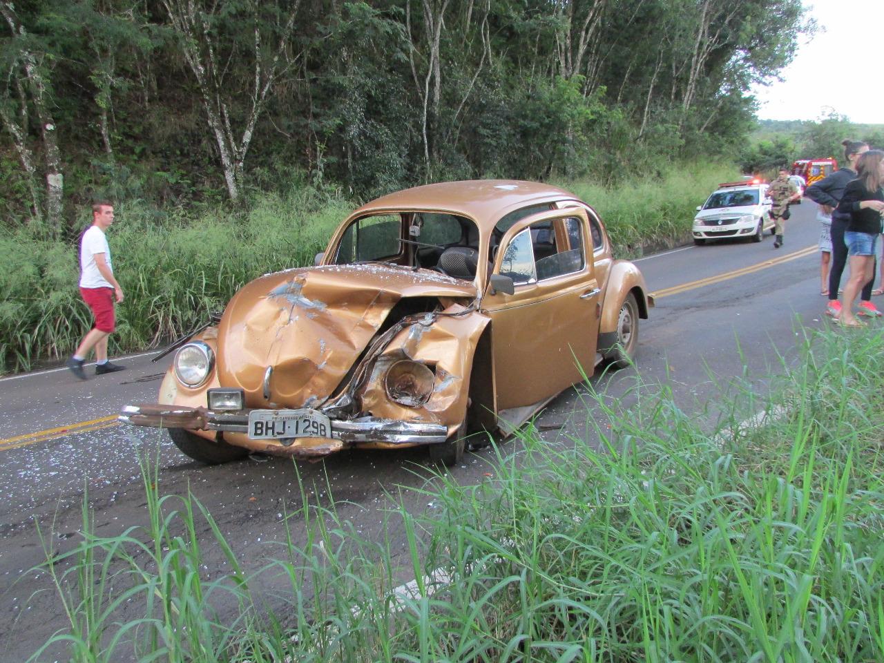 Colisão frontal deixa cinco feridos na SC-305 em Guaraciaba