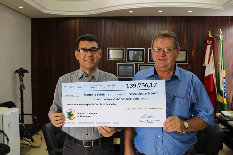 Devolução de recursos para prefeitura marca encerramento das atividades do legislativo no ano