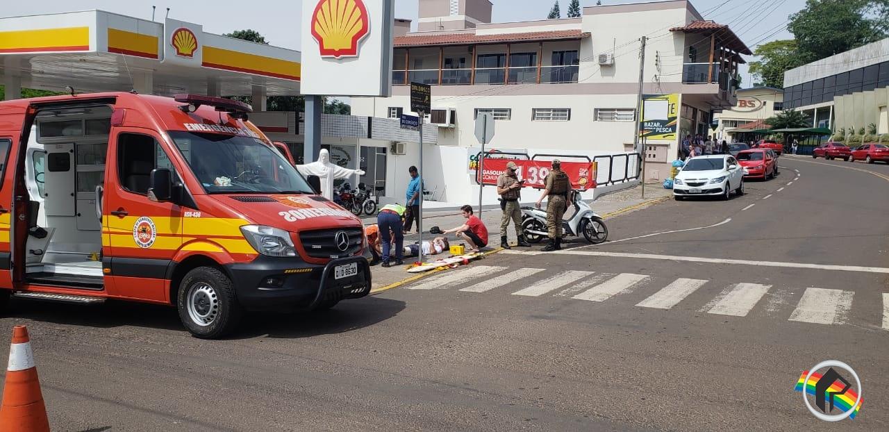 Motociclista fica ferido em acidente
