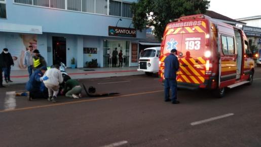 Homem fica ferido em acidente com moto em São Miguel do Oeste