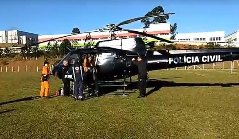 Idosa é transferida pelo Helicóptero do Saer até Xanxerê