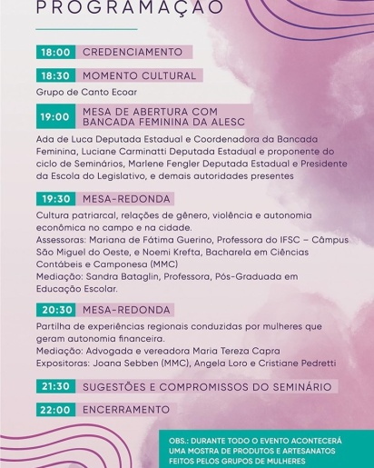 Descanso irá sediar seminário sobre autonomia financeira das mulheres e enfrentamento á violência