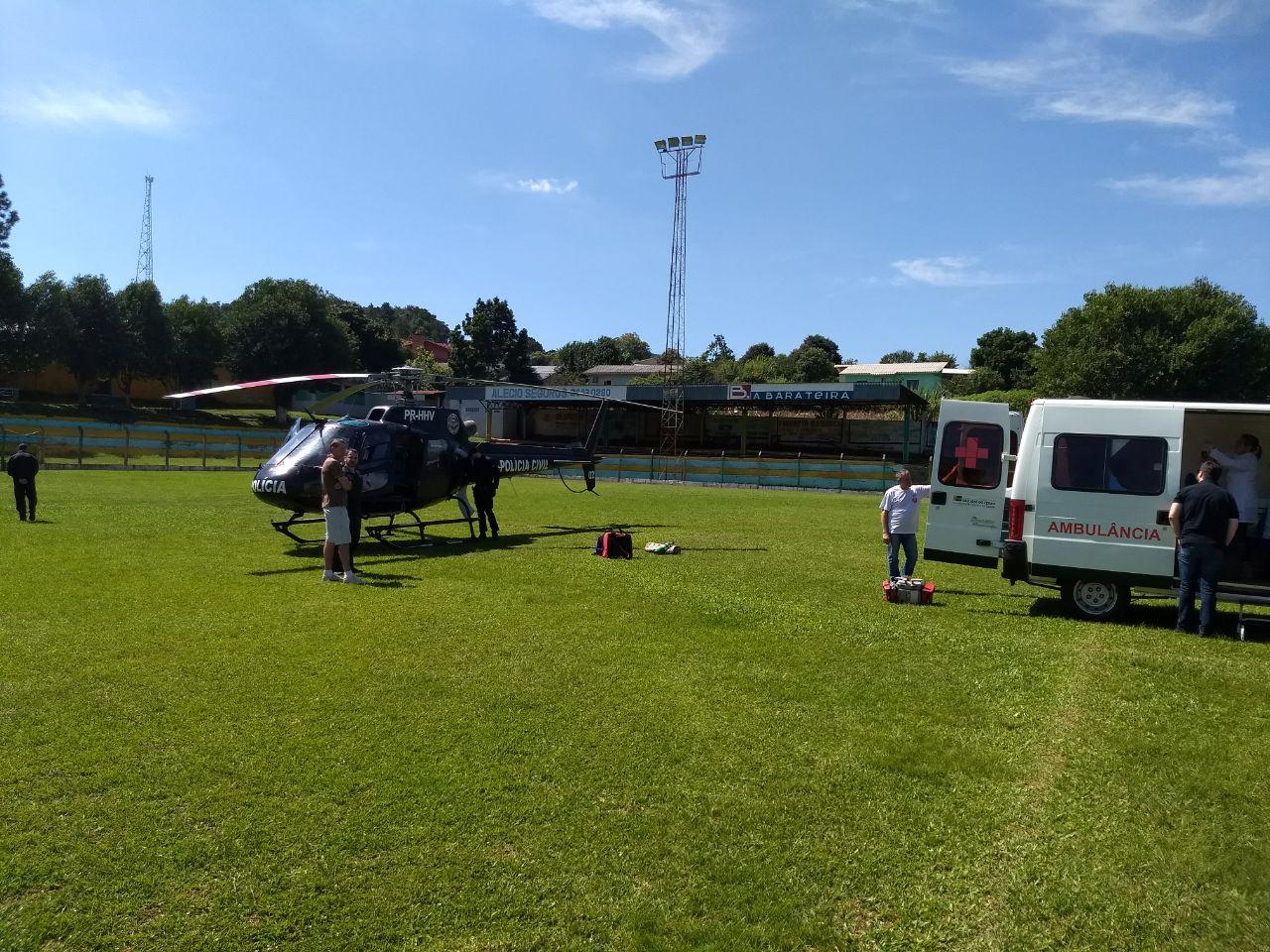 Helicóptero do Saer transfere paciente de São José do Cedro para Xanxerê