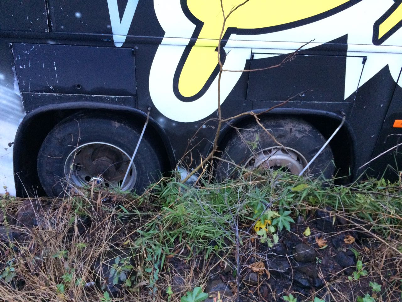 Saída de pista envolve ônibus de banda na SC-157