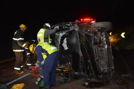 Saída de pista deixa homem ferido na BR-282 em São Miguel do Oeste