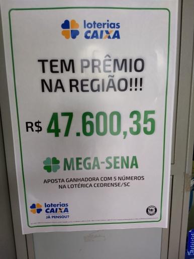 Aposta feita em São José do Cedro fatura a quina de Mega Sena