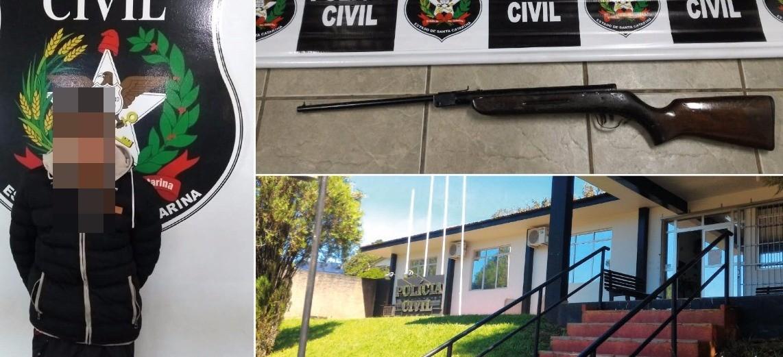 Polícia Civil de Palmitos apreende arma durante cumprimento de mandados de busca