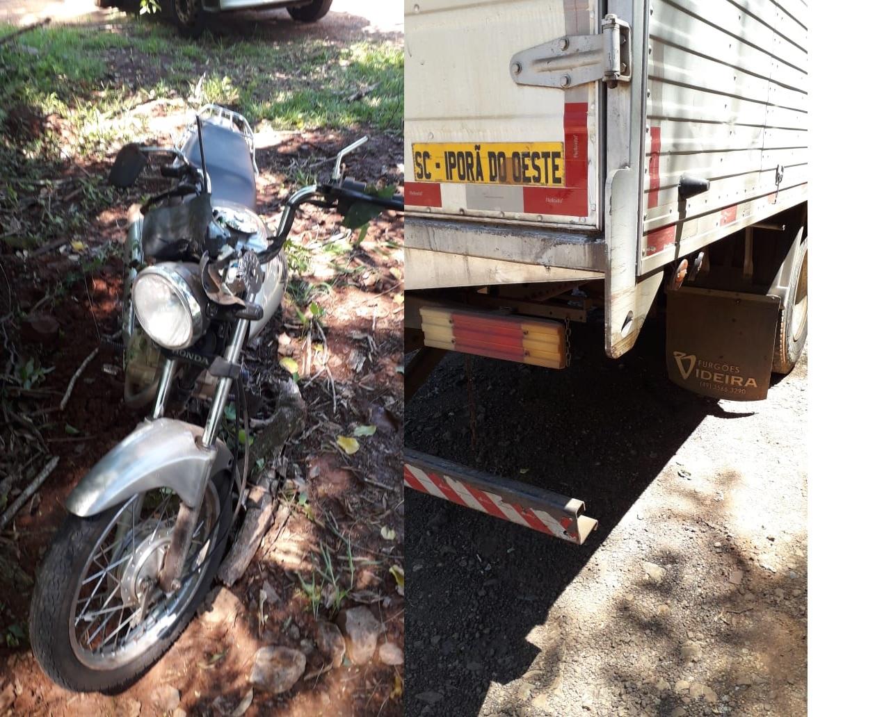 Dois feridos em acidente entre caminhão e motocicleta na SC 163 em Itapiranga
