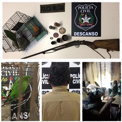Polícia Civil e Polícia Militar de Descanso prendem homem com arma de fogo