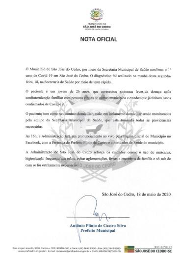São José do Cedro confirma o 1º caso de Coronavírus