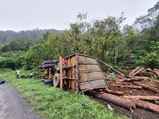 Mulher morre após caminhão carregado de madeira tombar