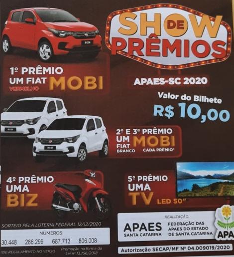 Show de prêmios das APAEs terá sorteio de três carros, moto e TV