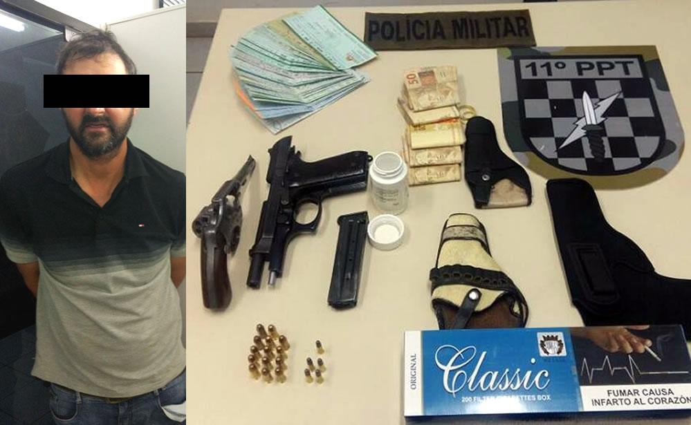 Homem é preso por violência doméstica, porte ilegal de armas e por contrabando