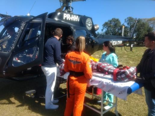 Vítima de infarto é transferida para unidade especializada pelo helicóptero do Saer