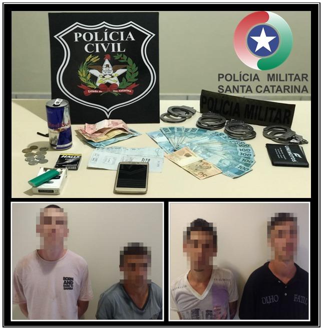Polícia Civil e Militar prendem quatro autores de furto em Maravilha