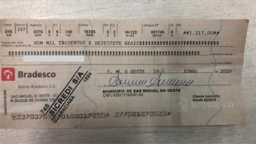 Município alerta para cheques falsos em nome de São Miguel do Oeste