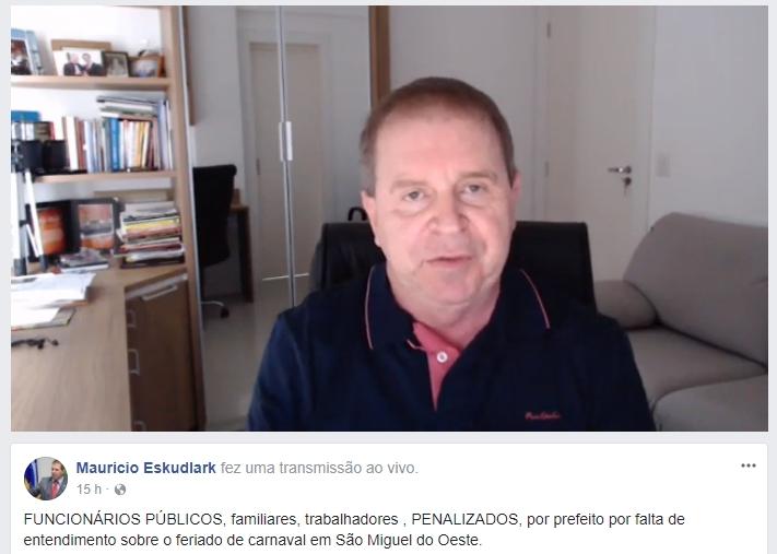 Deputado usa redes sociais para criticar abertura de prefeitura no Carnaval