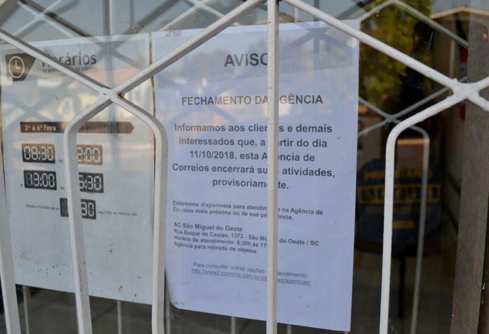 Agência do Correio em Descanso deve ser fechada em outubro