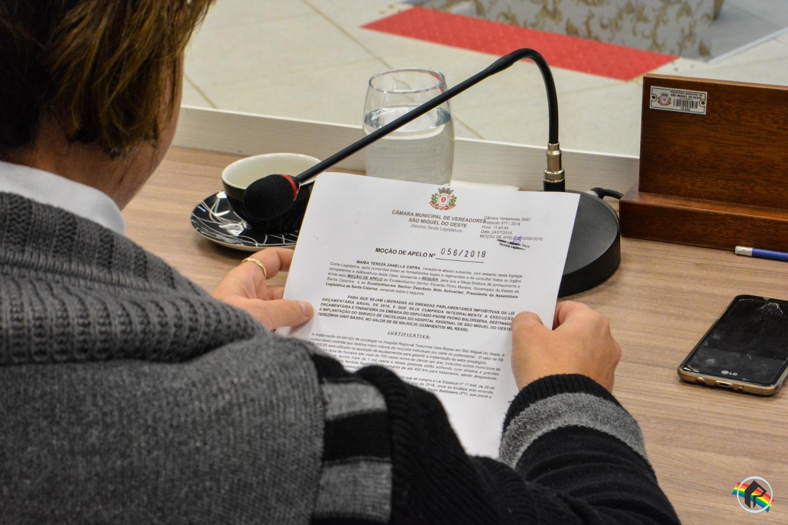 Moção solicita alteração dos valores repassados para o Hospital Regional