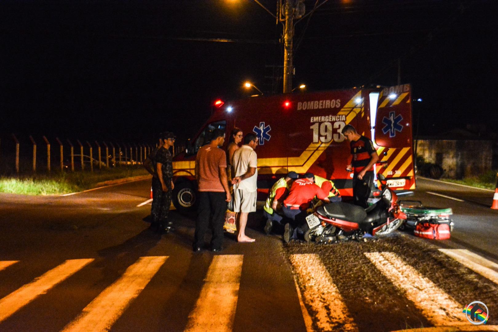 Homem fica ferido em acidente envolvendo duas motos na Willy Barth