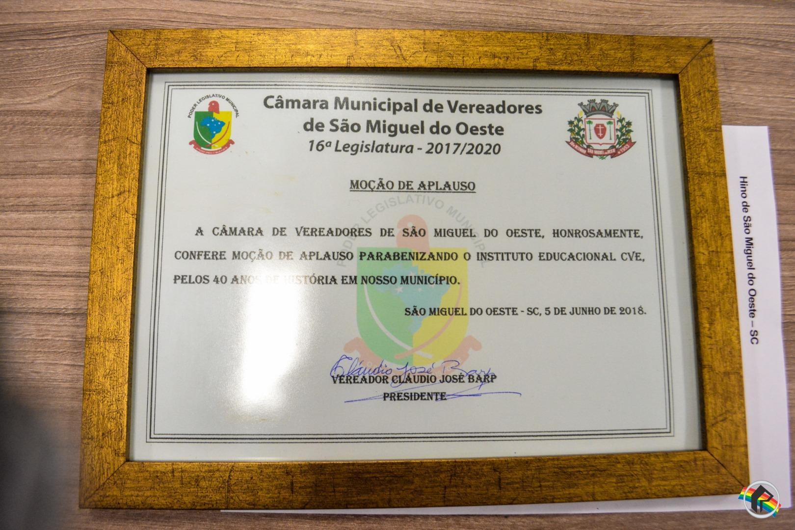 Instituto Educacional CVE é homenageado pela Câmara de Vereadores