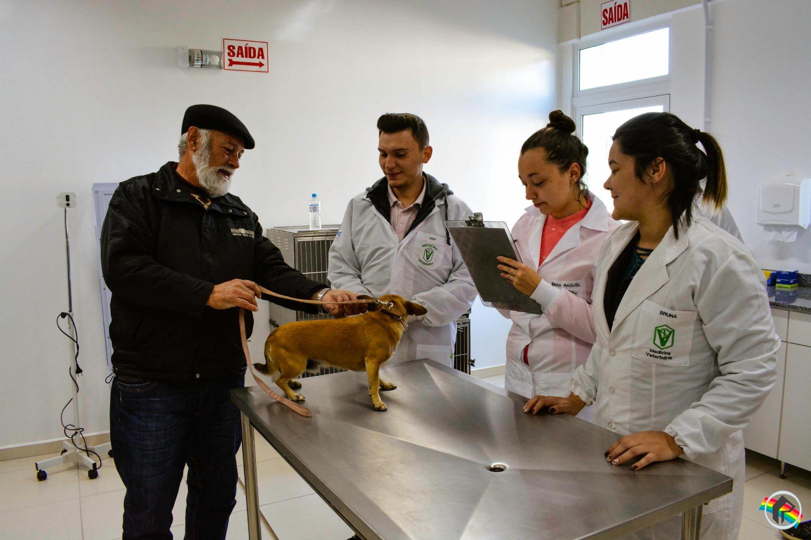 Curso de Veterinária da Unoesc vacina mais de 300 cães e gatos na campanha Antirrábica