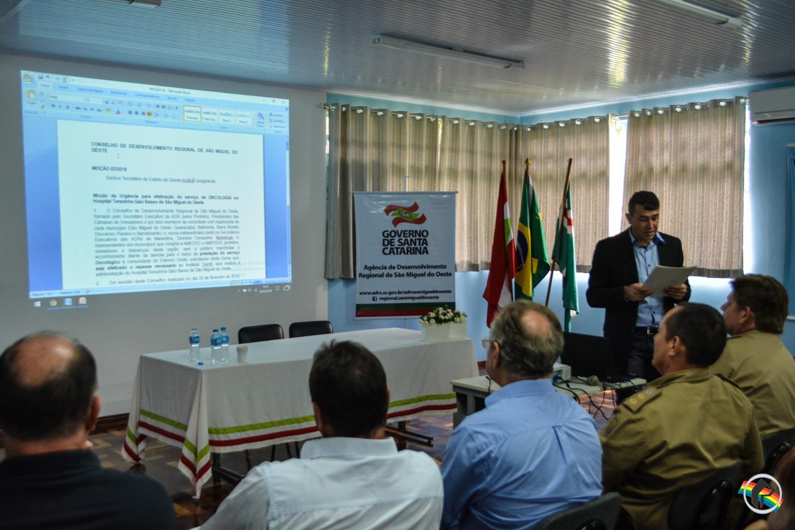 Oncologia é tema de reunião do Conselho de Desenvolvimento Regional