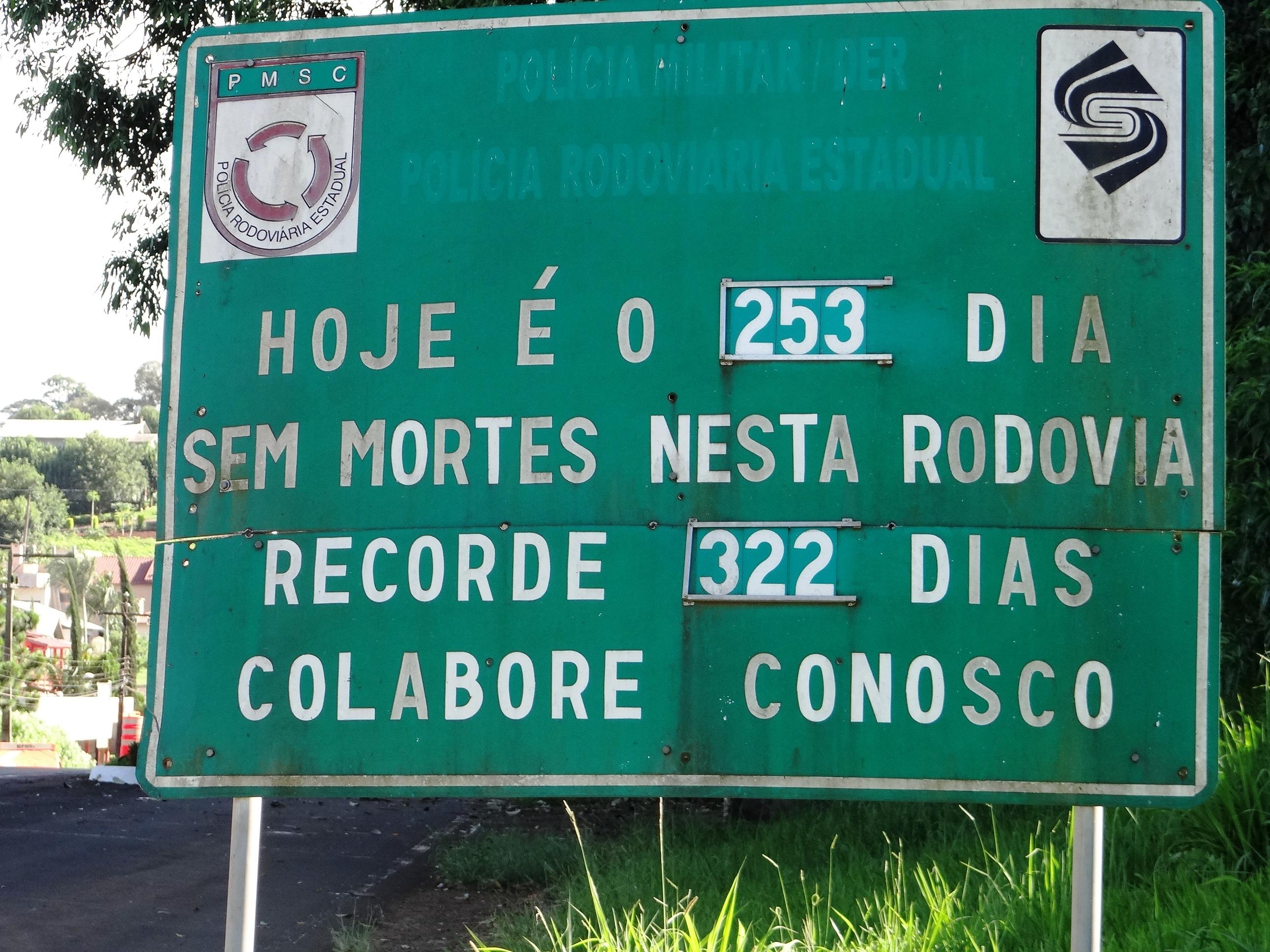 Trecho da SC 163 está há mais de 250 dias sem registrar acidentes com vítimas fatais