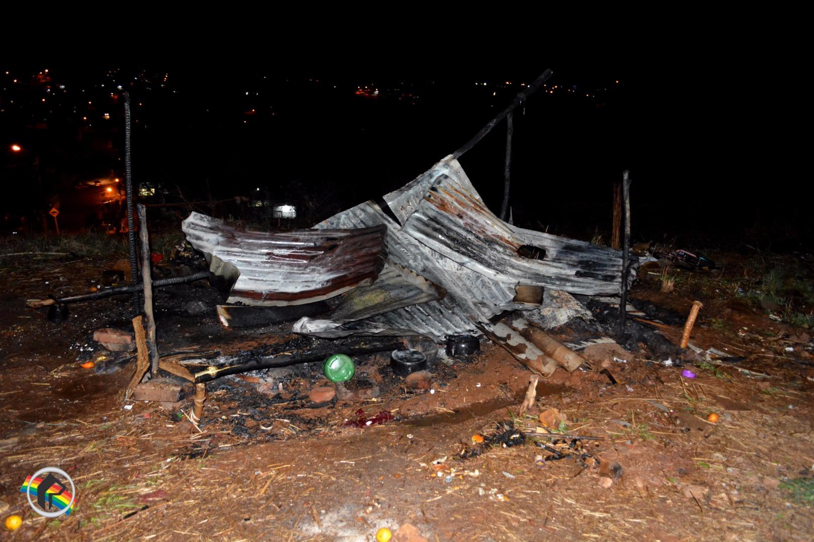 VÍDEO: Barraco é destruído pelo fogo no bairro Sagrado Coração de Jesus