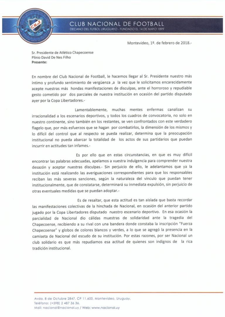 Conmebol abre investigação, e Nacional pede desculpas por ato da torcida