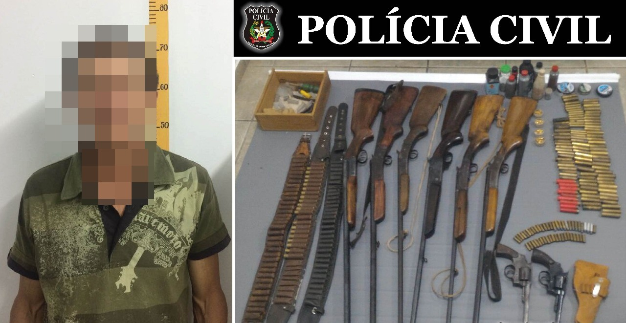 Policiais descobrem arsenal escondido em residência no interior